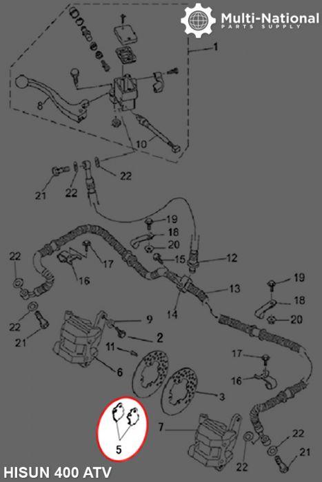 Brake Pads - Ceramic, ATV, Hisun, 400-700cc (1pc) - PBC1686F1 - Pocket Bike  Canada - Mini ATV , Dirt Bikes, Pocket Bikes, Scooters, Electric Bikes and